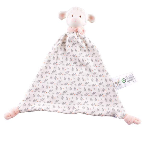 Lila a bárány gumi játék - rózsaszín sállal